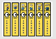 MINIONS PERSONALISED CHILDRENS BOOKMARKS LAMINATED X 6 PARTY/TEACHERS/PARENTS