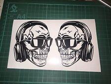 Skull With Headphones Set Of Stickers Vinyl Car Window Bumper Wall Decals JDM