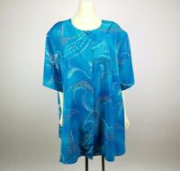 Maggie Barnes Plus Size 32W Short Sleeve Blouse Top Blue Paisley Silky Polyester