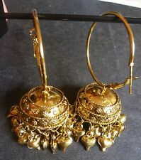 Antique Gold Vintage Indian Earrings Ring Jhumki Jhumka 3 cm Traditional Set