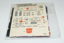 Roadbuster PACKET Sticker Decal Sheet Stickers 1985 G1 Transformers Vintage