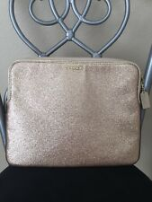 COACH Gold Sparkle Padded IPad Tablet Reader Zip Case Sleeve Gold Leather