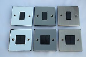 Single / Twin Light Switch 10A Polished Chrome, Black Nickel, Brushed Chrome