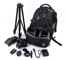 DSLR Camera Backpack Bag Case Shockproof For Nikon Canon EOS Sony W/ RainCover