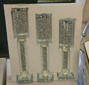 Crushed Crystal Diamond Silver 3pc Candle Holder Set  bling NEW
