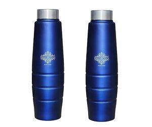 Stainless Steel Water Bottle Blue Matt, 1000 ML, Set of 2
