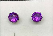 2 CTTW Genuine Amethyst 925 Sterling Silver Stud Earrings