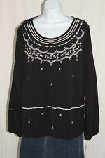 NEW Gibson Latimer Womens SZ LG Black White Long Sleeve Embroidered Blouse
