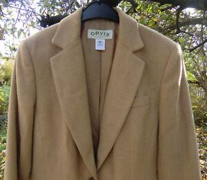 * TOP * Orvis Blazer Mantel Longjacket Schulterpolster Kamelhaar beige S 36 38
