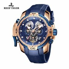 Reef Tiger Mens Watch Complicated Blue Dial Black Rubber Rose Gold Automatic Wat