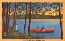 Casey Illinois Row Boat Waterfront Greeting Antique Postcard K62658