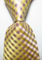 New Classic Checks Beige Purple JACQUARD WOVEN 100% Silk Men's Tie Necktie