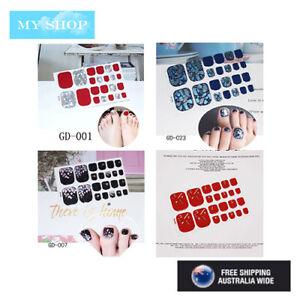 22pcs Toe Nail Stickers Nail Wrap Self Adhesive Full Cover Nail Art