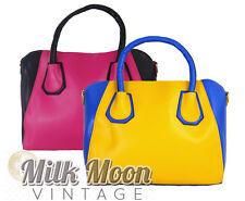 Ladies Bright Colour Handbag Shoulder Bag PU Leather Blue Yellow Black Pink