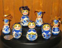 Christmas Tree Set Russian HAND PAINTED ORNAMENTS BLUE WHITE GZHEL BABUSHKA