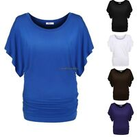 Women Casual cotton O-Neck Batwing dolman Sleeve Loose T-Shirt Blouse S-XXL