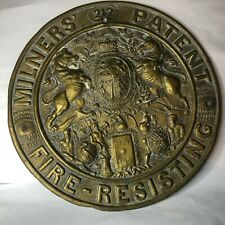More details for antique victorian milners patent fire resisting brass safe plate plaque 21 cm