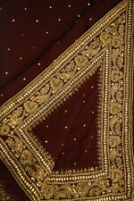 Vintage Saree Georgette Indian Sari Embroidered Clothing Antique Sarong PGS1064