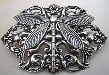 NEW - Victorian DRAGONFLY French Hair Clip BARRETTE - STERLING SILVER PLTD