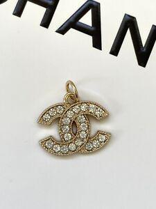 Chanel Gold CC Logo Button Metal Zipper Pull, Rhinestone, Stamped