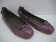 BALENCIAGA purple leather metal stud ballet flats shoes size 39.5