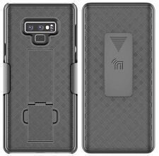 Black Ribbed Case Kickstand Cover + Belt Clip Holster for Samsung Galaxy Note 9