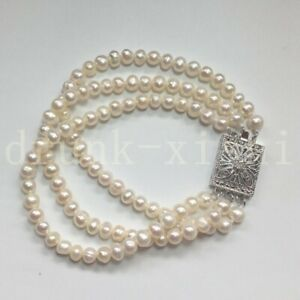 """Classic South Sea White Pearl Bracelet 7.5-8"""" Dainty Princess Party Square Clasp"""