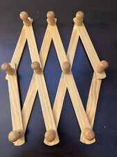 New listing Wooden Expanding Accordion Style 10 Hooks - Expandable Wood Wall Peg Rack