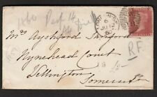 Gb 1860 Queen Victoria 1d Red Stamp Pl 59 On Cover London To Wellington Somerset