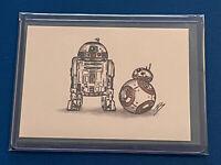 STAR WARS R2-D2 & BB-8 Sketch Card PRINT WATERCOLOR/MARKER