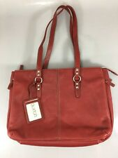 "Buxton 15"" Laptop Tablet Red Leather Briefcase Shoulder Bag Organizer"
