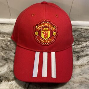 Manchester United MU F.C. Adidas Red Three Stripe Adjustable Dad Hat Cap