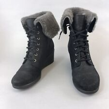 UGGS Waterproof US9 UK7.5 Black Leather Ankle Lace Up Wedge Heels Lined Boots