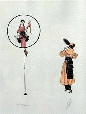 "Vintage ORIGINAL Impresión de Art Deco ERTE ""Fantaisie"" placa de libro"