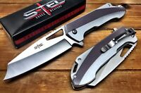"S-TEC 8"" TACTICAL SPRING ASSISTED CLEAVER POCKET KNIFE EDC OUTDOOR HUNTING 27205"