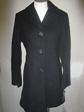 Anne Klein Single Breasted Wool Walker Coat S Black NWT