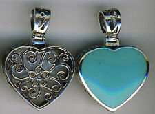 "925 Sterling Silver Turquoise Large Double Sided Heart Pendant L1.3/8"" Reversble"