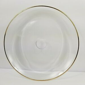 Clear Glass Tray Gold Trim Large Bar Ware Serving Round Heavy