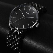 Fashion Mens Waterproof Black Gold Stainless Steel Analog Quartz Wrist Watch