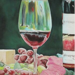 Still Life Artwork #320 Pastel Painting Glass of Wine & Grapes