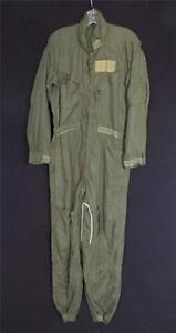 VINTAGE 1980'S US MILITARY GREEN COTTON POLY FLIGHT COVERALLS SUIT SIZE 38R