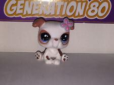 Littlest PetShop BOULEDOGUE BLANC AVEC FLEUR 2106 g030 DOG Pet Shop
