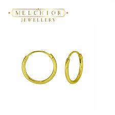 925 Sterling Silver 12mm Hoop Earrings - Gold Plating - Small Hoops Sleepers