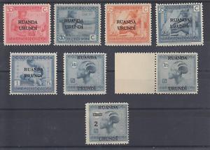 Ruanda Urundi Sc 12/36 MNH. 1924-1931 8 diff Belgian Congo issues w/ Overprints