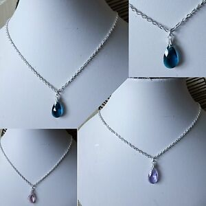 """Teardrop PENDANT necklace crystal glass SILVER PLATED 18"""" red pink blue BLACK"""