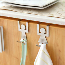 2x Stainless Steel Over the Door Hook Home Kitchen Single Towel Hanger Holder