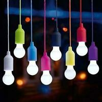 Bulb LED Light Portable Real Colors Lamp Rope Click Cord Pull Bulb T1Y5
