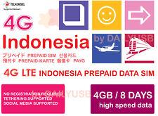 INDONESIA DATA SIM UNLIMITED DATA 4G LTE 4GB 8 DAYS PREPAID SIM BY TELKOMSEL AIS