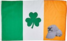 Wholesale Combo 2x3 Shamrock Ireland Irish Flag & Shamrock Pirate White Hat Cap