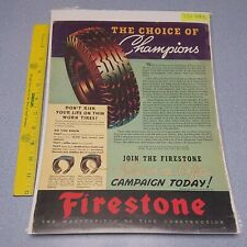 New listing 1937 Print Ad Firestone Tires The Choice of Champions Man Cave Art